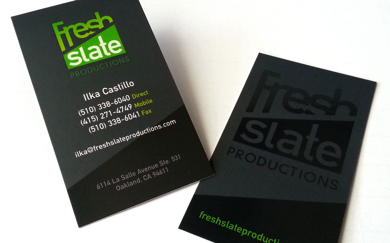 Fresh Slate Productions Business Cards | evolving door design